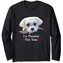 Maltese Dogs Lover T-Shirt Thanksgiving Love Puppy Gifts