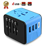Universal Travel Adapter JMFONE Type C 4 USB International Power Plug Converter Wall Charger for UK European EU AU US for 200 Countries (blue)