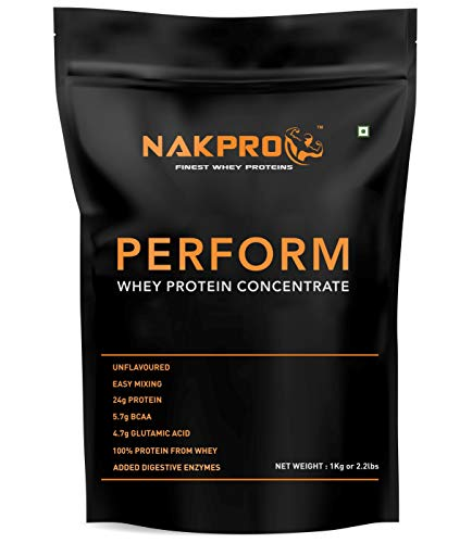 NAKPRO Perform Whey Protein Concentrate with Added Digestive Enzymes, Raw Whey Protein 1kg Supplement Powder – Unflavoured