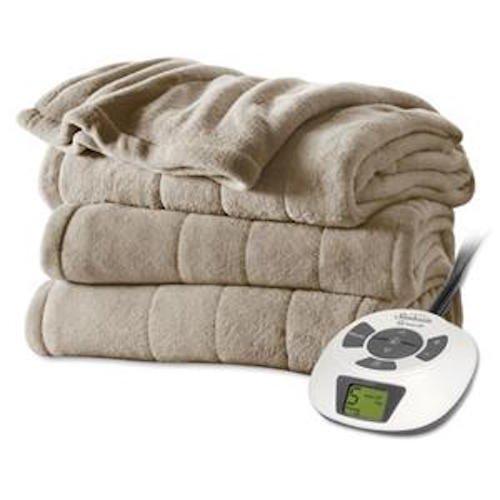 Sunbeam Heated Blanket | Velvet Plush, 10 Heat Settings, Mushroom, Full