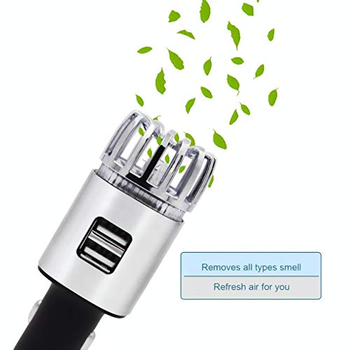 Car Air Purifier Stainless Steel HEPA Filter car ionizer USB car Charger 3.0 dual port-Eliminate Cigarette Smoke,Bad odors,Allergens,Pet smell,Pollen,Bacteria,Anti-Microbial Deodorizer (Black)