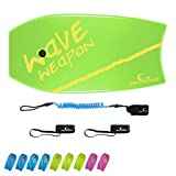 Own the Wave 37' Body Board Pack with Coiled Leash and Swim Flippers Leash - HDPE Slick Bottom and EPS Core - Boogie Board for Kids and Adults - Perfect for Surfing and Beach (Green & Yellow)