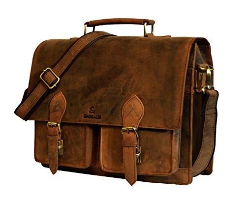 LEADERACHI Wax Hunter Leather Muskat Laptop Briefcase Bag