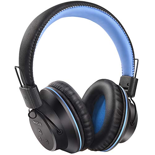 Kids Bluetooth Headphones BestGot S1 Wireless Headset Foldable for Kids Adults 20Hrs Playtime Over-Ear Wireless Headphones with Mic for PC/Cell Phone (Black/Blue)