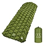 Gold Armour Sleeping Pad - Ultralight Compact Inflatable Camping Pad for Backpacking Traveling Hiking Camping Air Cells Design for Better Stability & Support - Tested 2.5 R-Value (Army Green)