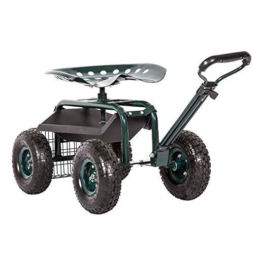 Kinsuite Rolling Utility Garden Cart Patio Wagon with Adjustable 360 Degree Swivel Seat Heavy Duty Steel Frame