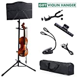 Klvied Sheet Music Stand, Portable Folding Violin Music Stands, Adjustable Sheet Music Book Holder Kit for Kids, Adult Instrument Performance with Violin Hanger, Carrying Bag, Black