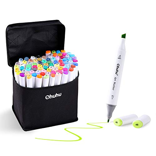 Ohuhu 60 Colors Dual Tips Permanent Marker Pens Art Markers Highlighters with Carrying Case for Drawing Sketching Adult Coloring Highlighting and Underlining