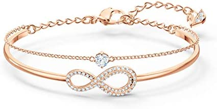 Swarovski Women's Infinity Knot Rose-Gold Tone Finish Bangle Bracelet, Necklace & Earrings Crystal Jewelry Collection