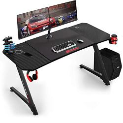 Vitesse 55 Inch Ergonomic Gaming Desk, Z Shaped Office PC Computer Desk with Large Mouse Pad, Gamer Tables Pro with USB Gaming Handle Rack, Stand Cup Holder and Headphone Hook