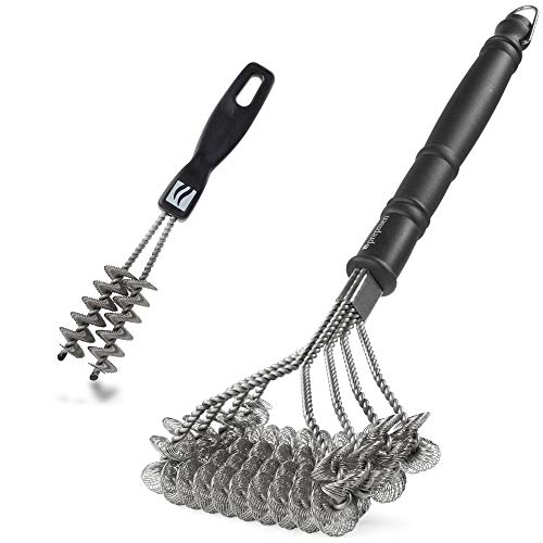 prepmen Bristle Free BBQ Grill Brush Set | Premium Large Barbecue Scrubber + Small Grate Cleaner, Rust-Proof Stainless Steel, Outdoor Grilling Tools Accessories Gift