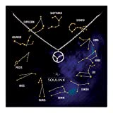 Soulink Universe Astrology Constellation Tropical Zodiac Sign in Circle Necklace (Cancer (22 Jun - 22 Jul)_Silver)