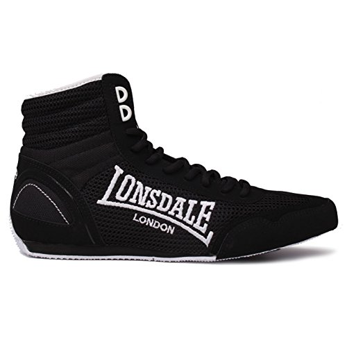 Lonsdale Mens Contender Boxing Boots Mid Cut Full Lace Up Lightweight Shoes Black/White UK 13 (47)