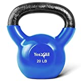 Yes4All Vinyl Coated Kettlebell Weights Set - Great for Full Body Workout and Strength Training - Vinyl Kettlebell 20 lbs