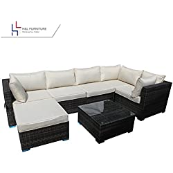 H&L Patio Outdoor Garden 7-Piece Cushioned Seat Brown, Rattan Wicker Sofa Furniture Set, Elegant Lawn Sectional Furniture Set for All-Weather, No Assembly Required