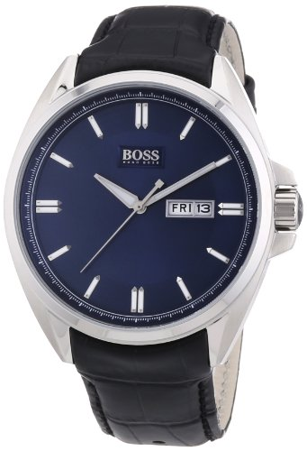 Black leather-synthetic strap Stainless-steel case, blue dial Quartz movement