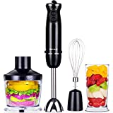 VECELO 800W Premium 4-In-1 Immersion Hand Blender Set with Food Processor Chopper Egg Whisk 500ml Beaker 6 Variable Speeds - Black
