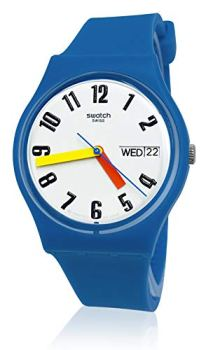 Swatch 1907 BAU Quartz Silicone Strap, Blue, 15 Casual Watch (Model: GS703)