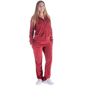 TanBridge Women's 2 Piece Solid Velvet Tracksuit Set Full Zip-up Hooded Sweatshirts & Pants Set 1 Fashion Online Shop Gifts for her Gifts for him womens full figure