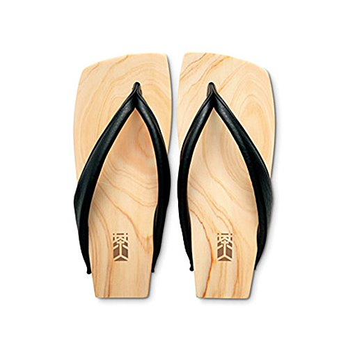 Japanese Modern Geta Sandals for Men SAJIN with a Wooden Platform and a Black Leather Thong (7.5)
