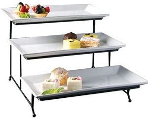 3 Tier Rectangular Serving Platter, Three Tiered Cake Tray Stand, Food Server Display Plate Rack, White