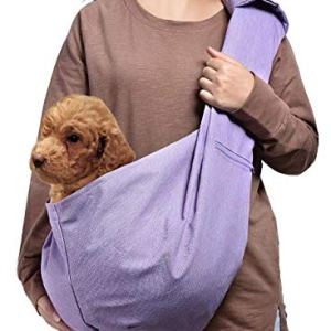 AOFOOK Dog Cat Sling Carrier, Adjustable Padded Shoulder Strap, with Zipper Pocket for Outdoor Travel