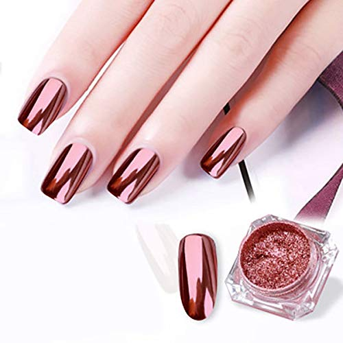 SKYMORE Rose Gold Chrome Nail Powder Mirror Effect Nail Pigment Gel Polish Salon Dust for Manicure and Makeup