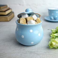 Sky Blue Polka Dot Sugar Bowl