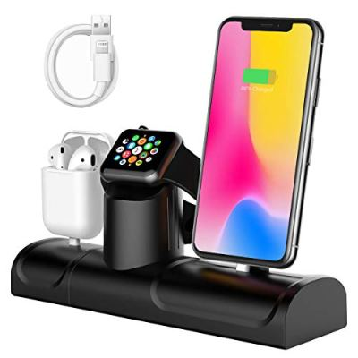 Yaature Supporto di Ricarica per Apple, 3 in 1 Stazione di Ricarica Silicone Supporto Caricabatteria per Apple Watch Series 4/3/2/1, Airpods, iPhone XS/XS Max/XR/X / 8/8 Plus / 7 Plus / 6
