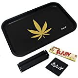 Full Size Rolling Tray Bundle - 12' x 8' Tray + 110mm Rolling Machine + King Size Raw Rolling Papers - Lionhead (Black)