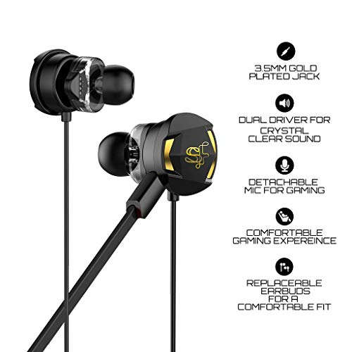 41X58J375QL Skyfly Xbot GE100 - Dual Driver Gaming Earphones with Dual Dual mic (Detachable mic) & Free Carry Pouch || Perfect for Gamers