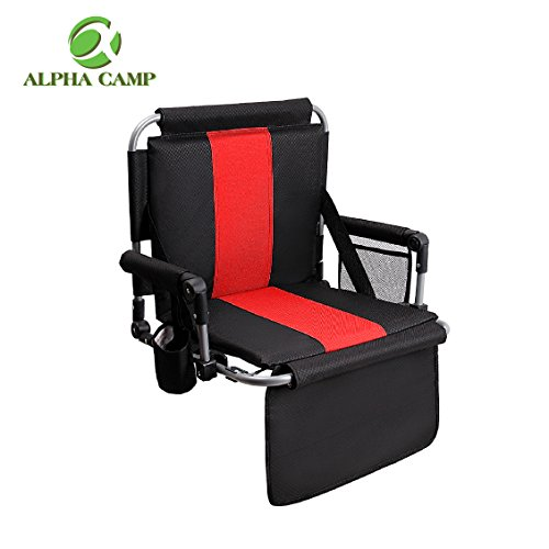 ALPHA CAMP Stadium Seat Chair for Bleachers with Back& Arm Rest - Black Red