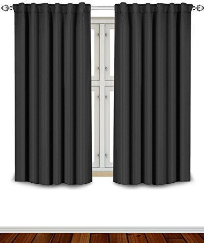 Blackout Room Darkening Curtains Window Panel Drapes - Black Color 2 Panel Set, 52 inch wide by 63 inch long each panel- 7 Back Loops per Panel, 2 Tie Back Included - by Utopia Bedding
