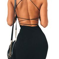just quella Women Sexy Bodycon Party Dresses Backless Spaghetti Straps Clubwear Mini Dress