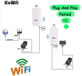 KuWFi-2-Pack-300Mbps-Wireless-Outdoor-CPE-Kit-Point-to-Point-Wireless-Access-Point-24G-WiFi-Bridge-Supports-1KM-Transmission-Distance-Solution-for-PTPPTMP-Pre-Program