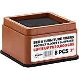 IPrimio Bed and Furniture Risers - 8 Pack Square Elevator up to 2' Per Riser and Lifts up to 10,000 LBs - Protect Floors and Surfaces - Durable ABS Plastic and Anti Slip Foam Grip - Stackable - Brown