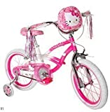 Hello Kitty Girls' Bike 16 inch with training wheels, bag and streamers. Pink & White Girls Bike ON SALE !! A girls bike which helps balance and coordination. Great Kids Bike. by Hello Kitty