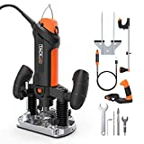 """TACKLIFE Plunge and Fixed Base Router, 30,000RPM Compact Router Kit, 6 Variable Speed Router Tool, 1/8"""" Flex Shaft, 1/4"""", 6mm Collets, Auxiliary Handle, Compass for DIY - PTR01A"""