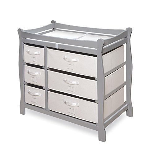 Sleigh Style Baby Changing Table with 6 Storage Baskets and Pad