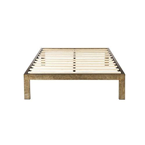 The Frame Gold Brushed Steel Frame Platform Metal Bed Frame/Mattress ...