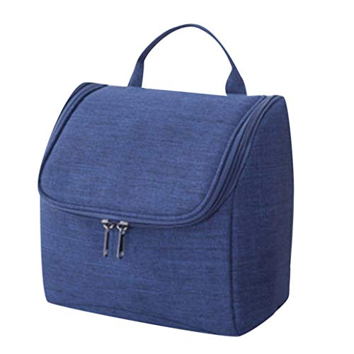 telaite Large-Capacity Cation Oxford Cloth Wash Bag Hanging Travel Storage Handbag Cosmetic Packet(Navy)