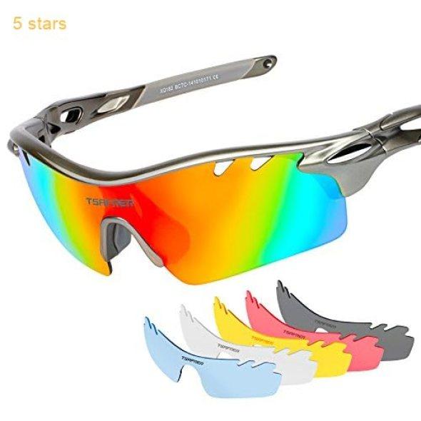3cd5e723ca Tsafrer Polarized Sports Sunglasses with 6 Interchangeable Lenses