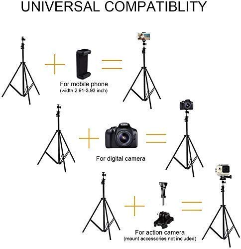 41XMh1QJIWL AWAKSHI 71 inch Big Tripod Stand for Phone and Camera Adjustable Aluminium Alloy Big Tripod Stand Holder,Photo/Video Shoot,TIK Tok/YouTube Videos with Mobile Clip Holder Bracket