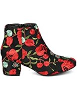Women Embroidered Block Heel Bootie - Low Chunky Heel Ankle Boot - Floral Trend Dressy Versatile Fashion Bootie - HD27 by Qupid Collection