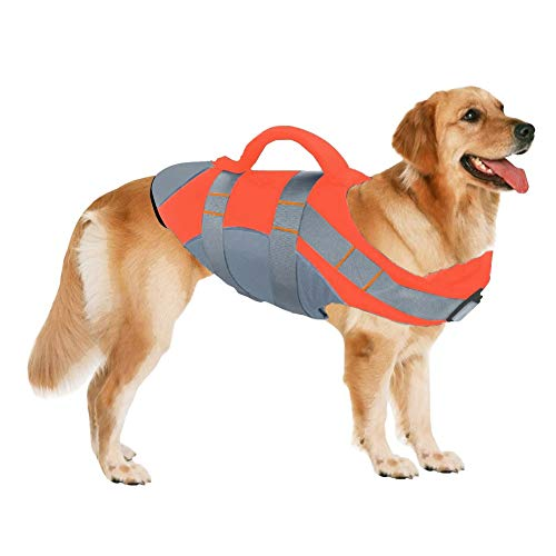 SUNFURA Pet Life Jackets, Summer Dog Float Coat with Reflective Strips and Rescue Handle, Adjustable Ripstop Pet Life Vest for Small, Medium, Large Dogs 1