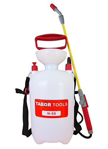 TABOR TOOLS N-50, 1.3 Gallon Lawn and Garden Pump Pressure Sprayer for Herbicides, Pesticides, Fertilizers, Mild Cleaning Solutions and Bleach, Includes Shoulder Strap.