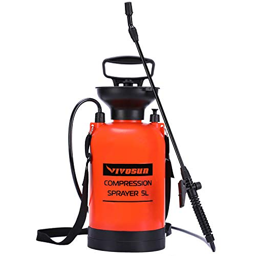 VIVOSUN 1.3 Gallon Lawn and Garden Pump Pressure Sprayer with Pressure Relief Valve, Adjustable Shoulder Strap and Gloves Included
