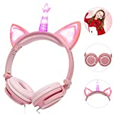 Kids Cat Headphones for Girls Toddler Light up Over Ear Earphone Wired Adjustable Tablet Back to School Supplies Headband Foldable Game Headset Toddlers Travel Birthday Gifts