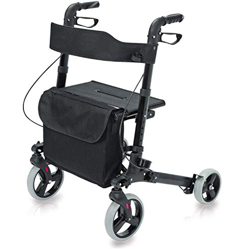 HealthSmart Rollator Walker with Seat and Backrest, Adjustable Handle Height, Removable Storage Bag and a Durable Lightweight Frame That Easily Folds While Supporting up to 300 pounds, Black