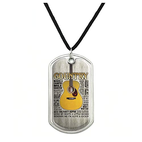 GRAPHICS & MORE Guitar Country Music Military Dog Tag Pendant Necklace with Cord